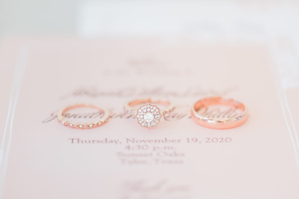 Blush Rose Gold Wedding Details Rings Ceremony Program Invitation Jewelry Greenery Florals Baby's Breath | Sunset Oaks in Tyler TX by DFW Dallas Fort Worth wedding photographer Karina Danielle Photography