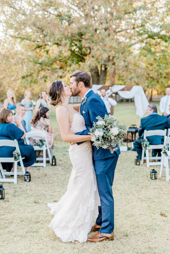Intimate Wedding Ceremony Kiss | Celina TX Wedding by DFW Fort Worth Dallas wedding photographer Karina Danielle Photography
