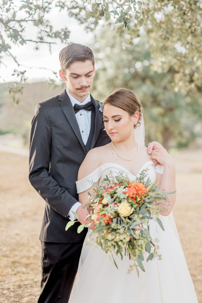 Bride and Groom Portrait Bouquet | Tapatio Springs Operator Drewski Wedding in Boerne TX by DFW Dallas Fort Worth wedding photographer Karina Danielle Photography